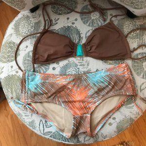 Victoria's Secret Tropical Brown and Turquoise Bikini - NWOT